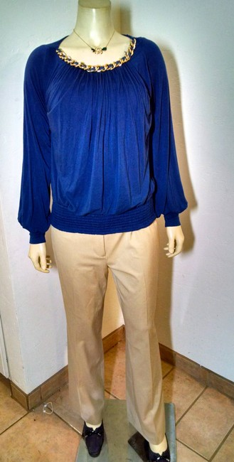 Sky Long Sleeves Chain Size Large P948 Top blue, gold