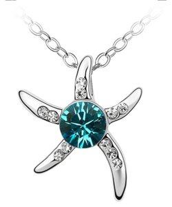 New Silver Plated Starfish Necklace W/ Teal Crystal J2328