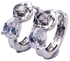Other New 14K White Gold Filled Cubic Zirconia Small Hoop Earrings J2329