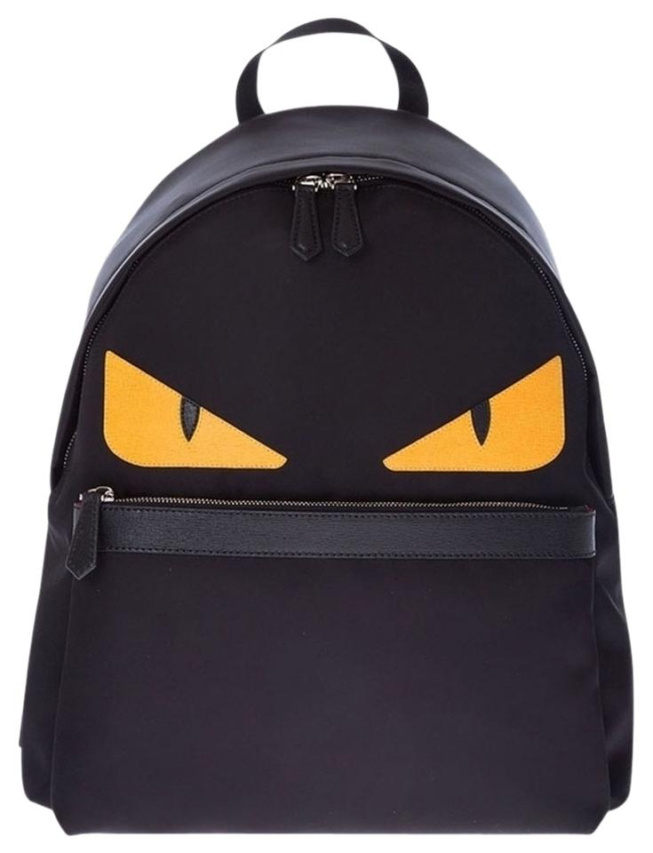 02c414c5e84a Fendi Bugs Monster with Yellow Eyes Black Nylon Leather Backpack ...