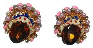 Other Gold Tone Crystal Stud Earrings Large J2336
