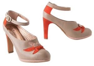 Miss Albright Retro Vintage Anthropologie Taupe with Orange Pumps