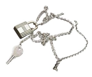 Hermès Authentic Hermes Sterling Silver Cadena & Key Pendant Necklace