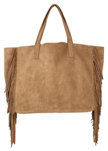 Velvet by Graham & Spencer Suede Leather Brown Fringe Tote in Tan