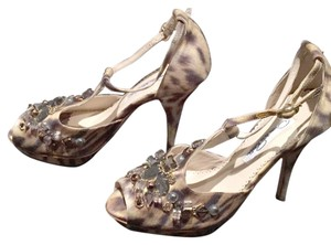 Oscar de la Renta Stiletto Embellished Night Out Platform Lynx Print with Crystals Formal