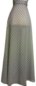 Lisa Nieves Chiffon Polka Dot Flowy Full Length Maxi Skirt light brown white