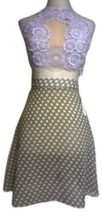 Lisa Nieves Short Casual Polka Dot Mini Skirt light brown white