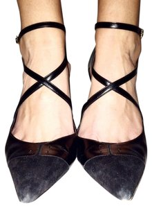 Escada Leather Suede Buckle Black Pumps