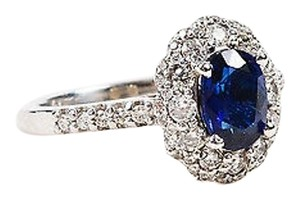 14k White Gold Blue Sapphire Diamond Engagement Ring