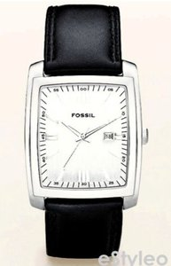 Fossil Men Stainless Steel Leather Rectangular Watch Black Leather Pr5324