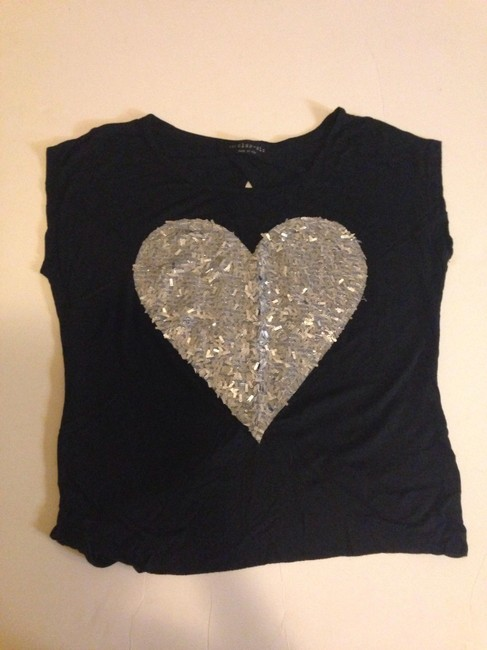 Other Heart Bling Black Silver T Shirt