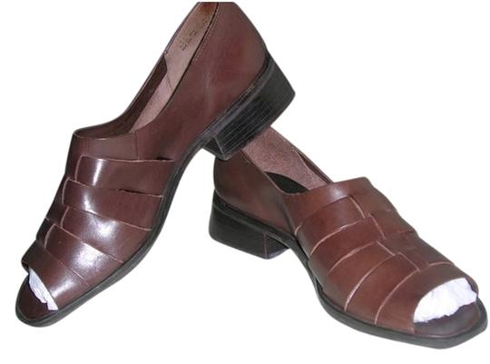 Amanda Smith Leather Leather Braided Leather Brown Flats