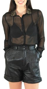 Michael Hoban Vintage Leather Cuffed Shorts Black
