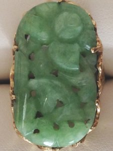 CARVED FLORAL Jade Ring sz 5.5 - HEAVY / SOLID Yellow GOLD 14K