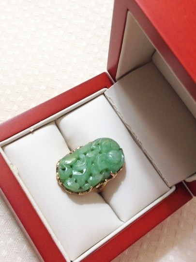 Other CARVED FLORAL Jade Ring sz 5.5 - HEAVY / SOLID Yellow GOLD 14K