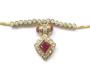 Fine Gem Ruby Diamond Jewelry Necklace Yg 1.75ct