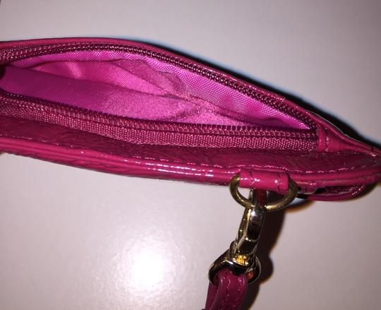 Lodis Leather Patent Leather Pink Cell Phone Wristlet in Magenta