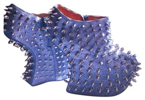 Jeffrey Campbell Blue Metallic Statement Textured Badass Light Blue Boots
