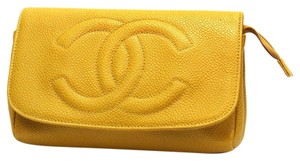 Chanel Caviar Cc Pouch Leather Yellow Clutch