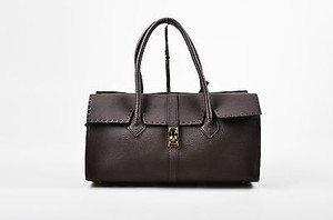 Other Nagatani Dark Pebbled Top Stitched East West Roll Tote in Brown