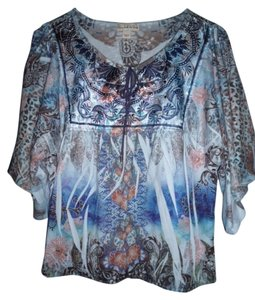 Live A Little Fractal Keyhole Hippie Gypsy Colorful Top Multi-Color