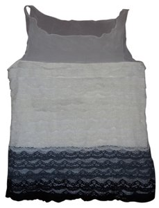 Behnaz Sarafpour Lace Tank Blouse Top ivory, grey & black