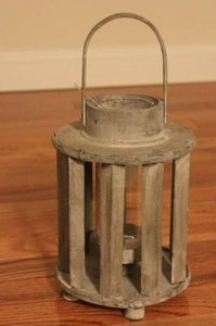 Distressed Wooden Lantern Small Cylinder Hurricane Candle White Gray Grey Beach Nautical Rustic Hanging 10