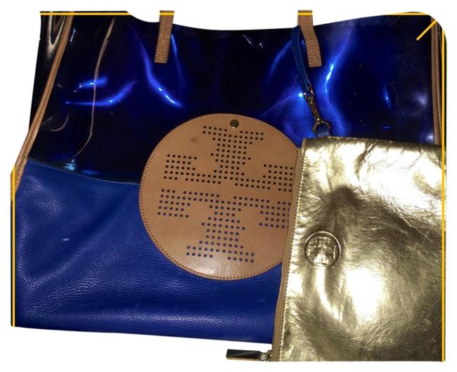 Item - Tote Blue with Tan Leather Plastic/Leather Beach Bag