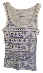 Bobbie Brooks A-shirt Casual Aztec Print Comfortable Ribbed Top White, royal blue
