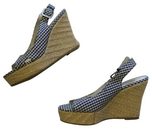 American Eagle Outfitters Plaid Blue, White, Tan Wedges