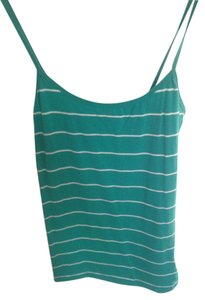 Forever 21 Spaghetti Strap Stripes Striped 21 Small Top Turquoise, green, white
