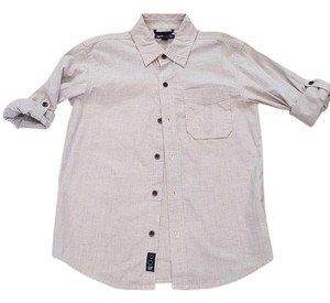 Gap Kids Button Down Shirt grey w/ white pinstripe