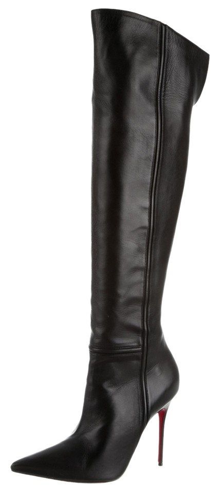 f2fd612290d Christian Louboutin Leather Pointed Toe Stiletto Knee-high Over The Knee  Black Boots Image 0 ...