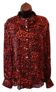 Carlisle Cheetah Longsleeve Buttondown 100% Silk Sheer Top Orange, Brown, Black