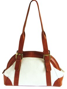 Valentina Handbags 2-tone Leather Handbags Satchel in White