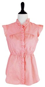 Odille Anthro Striped Ruffle Button Down Shirt Pink / White