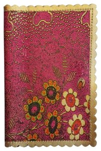 Other Metallic Floral Print Leather Card Holder