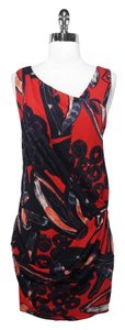 Ali Ro short dress Red/Black Print Silk on Tradesy