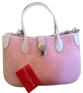 Dooney & Bourke Signature Style White Leather Handbag Small Handbag Tote in Pink