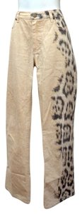 Roberto Cavalli Animal Print Gold Glittery Coated Trouser/Wide Leg Jeans-Coated