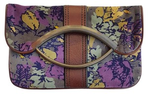 Fossil Floral Print Velvet Vintage Leather Gray Multi Clutch