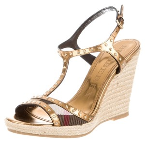 Burberry Nova Check Plaid Ankle Strap Hardware Studded Beige, Black, Gold Sandals