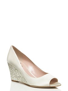 Kate Spade Ivory Silver Satin Glitter Wedges Size Us 9 Regular M B