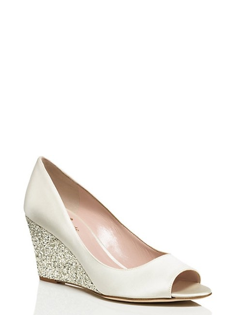 Item - Ivory/ Silver Satin Glitter Wedges Size US 9 Regular (M, B)