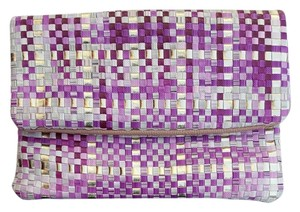 deux lux Woven pink gold multi Clutch
