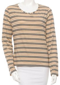 Burberry Nova Check Striped Cotton Longsleeve Monogram Top Beige, Black