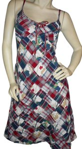 Aretura short dress red, white, blue, green, gold, plaid & florals Cotton on Tradesy
