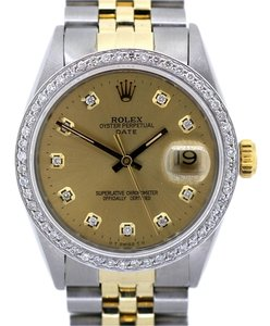 Rolex 34mm Men's Datejust 2.0 Ct Diamond Bezel Dial