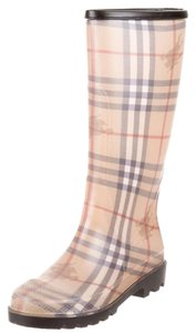 Burberry Haymarket Nova Check Plaid Beige, Black Boots