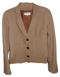 Giorgio Armani Three Button Fully Lined Fitted Brown and Tan Blazer